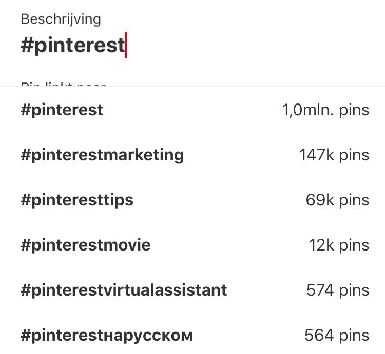 hashtag Pinterest